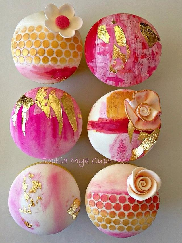 Gold Leaf Abstract Cupcakes