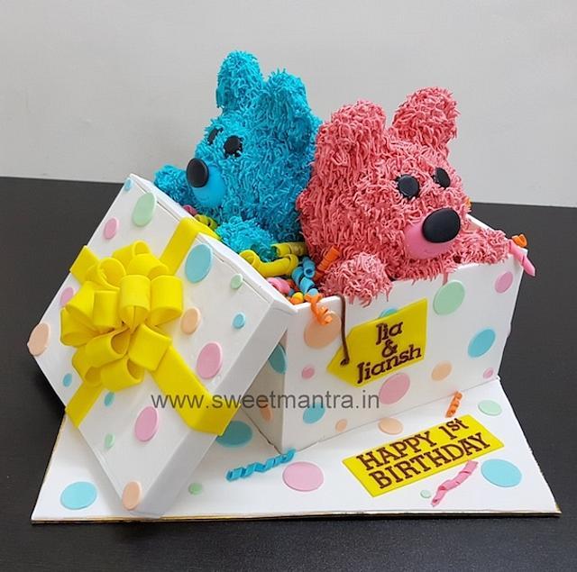 Amazing Teddy Gift Box Shape Cake For Twin Boy N Girls 1St Cakesdecor Personalised Birthday Cards Paralily Jamesorg