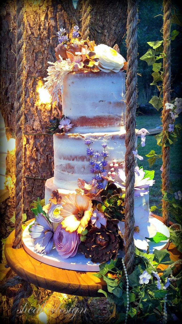Rustic and Vintage Wedding Cake