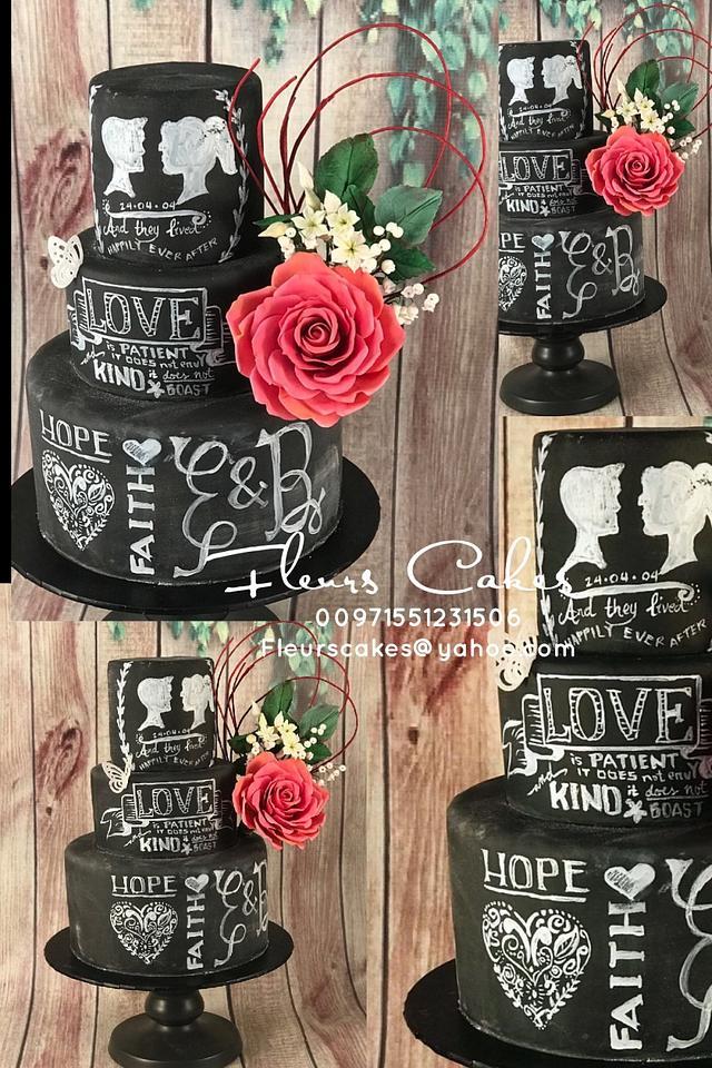 Chalkboard cake with sugar flowers