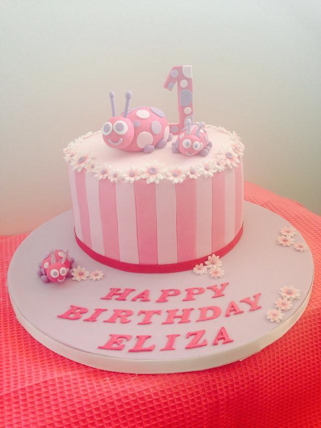 Cool Ladybug First Birthday Cake Cake By Jade Somers Cakesdecor Personalised Birthday Cards Cominlily Jamesorg
