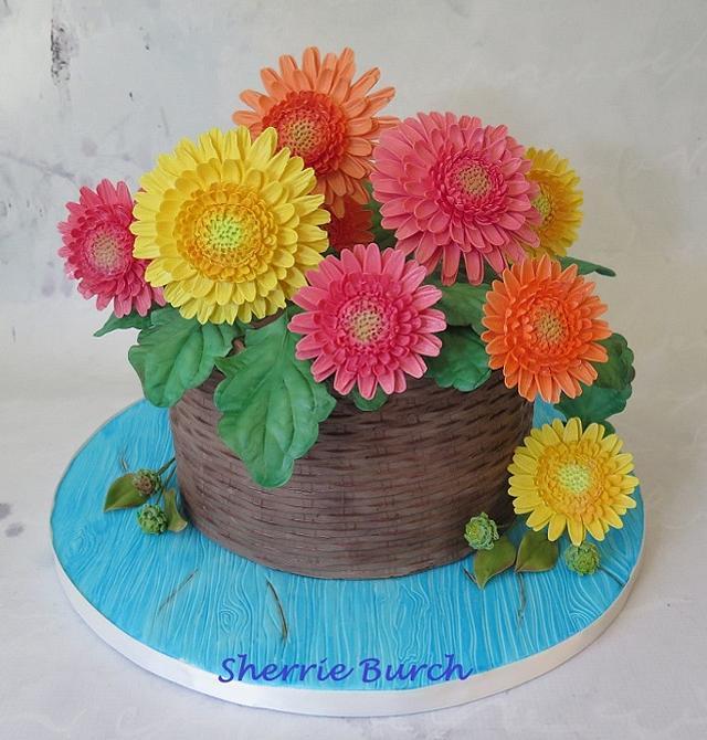 Gerbera Daisies Basket cake MBalaska