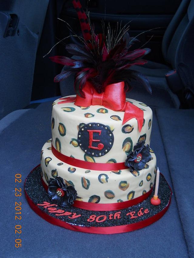 80th  leopard cake