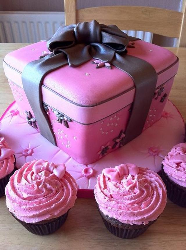 Pink and Brown wrapped cake