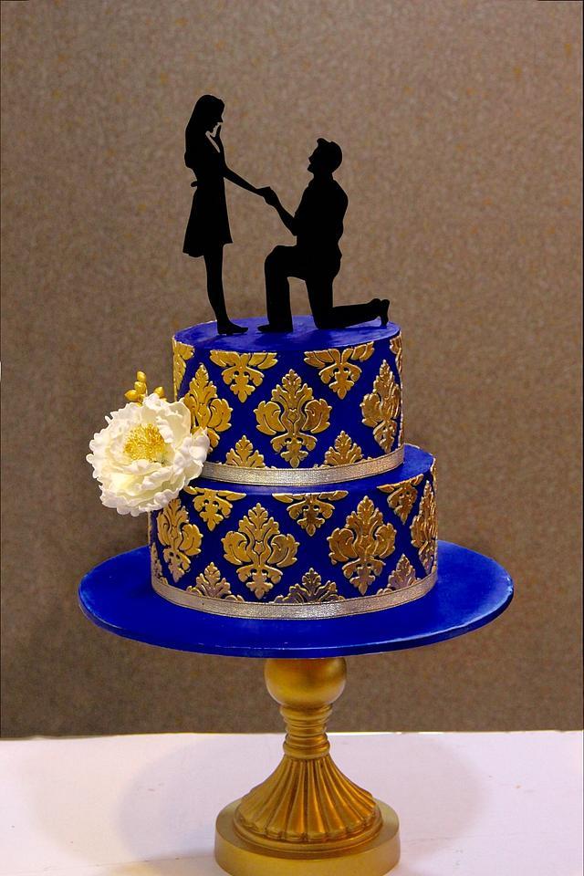 Royal Blue And Gold Cake By Signature Cake By Shweta Cakesdecor