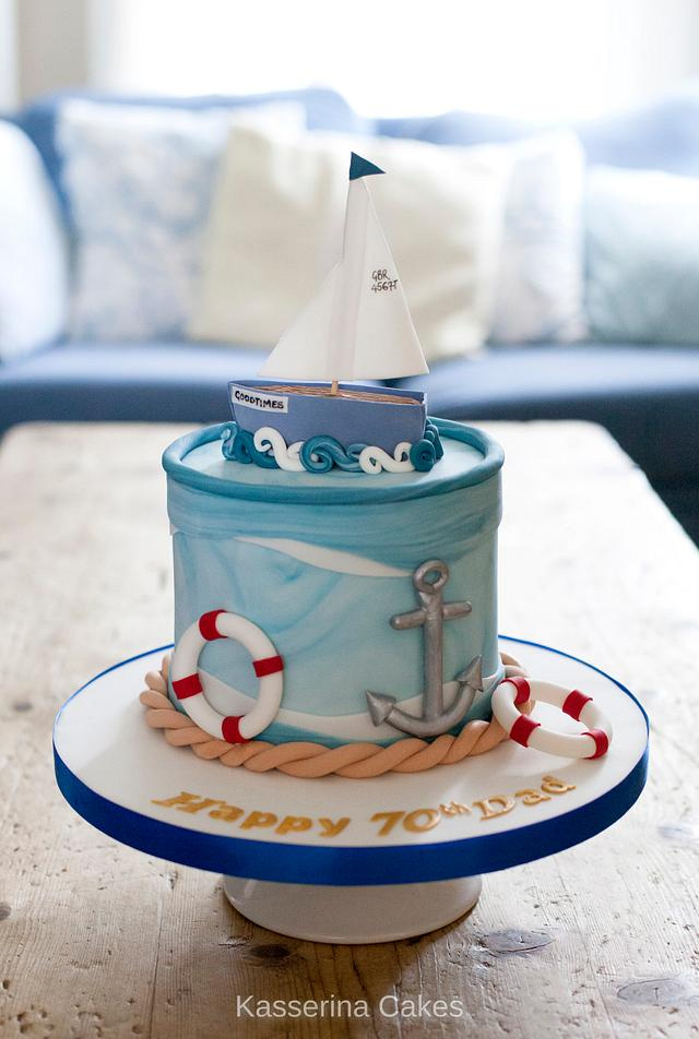 Outstanding Sailing Themed Birthday Cake Cake By Kasserina Cakes Cakesdecor Personalised Birthday Cards Sponlily Jamesorg
