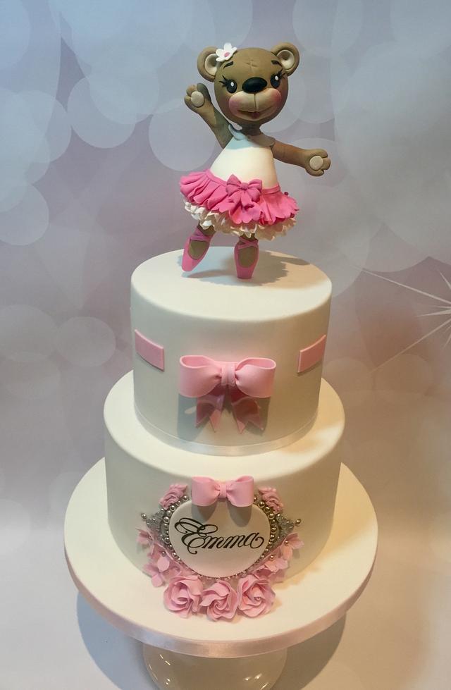 Ballerina bear christening cake