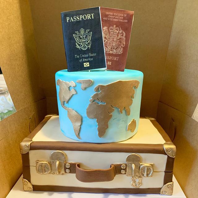 Travel themed birthday cake