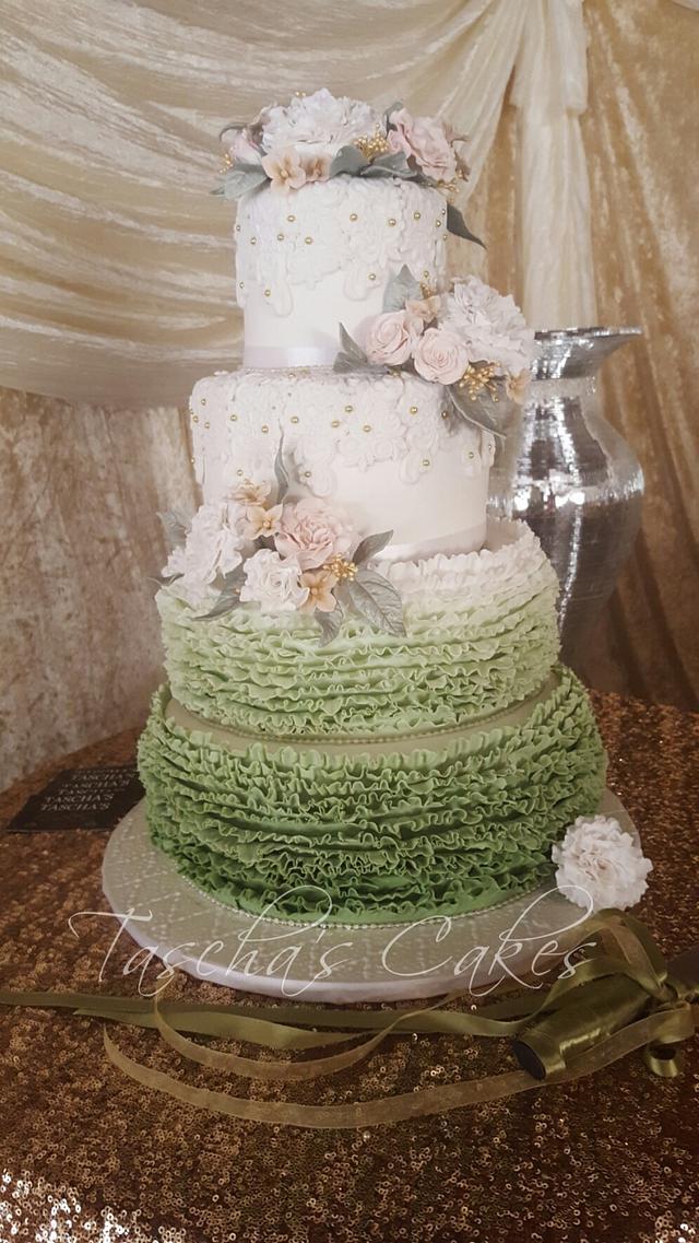 Vintage olive green and gold Wedding cake