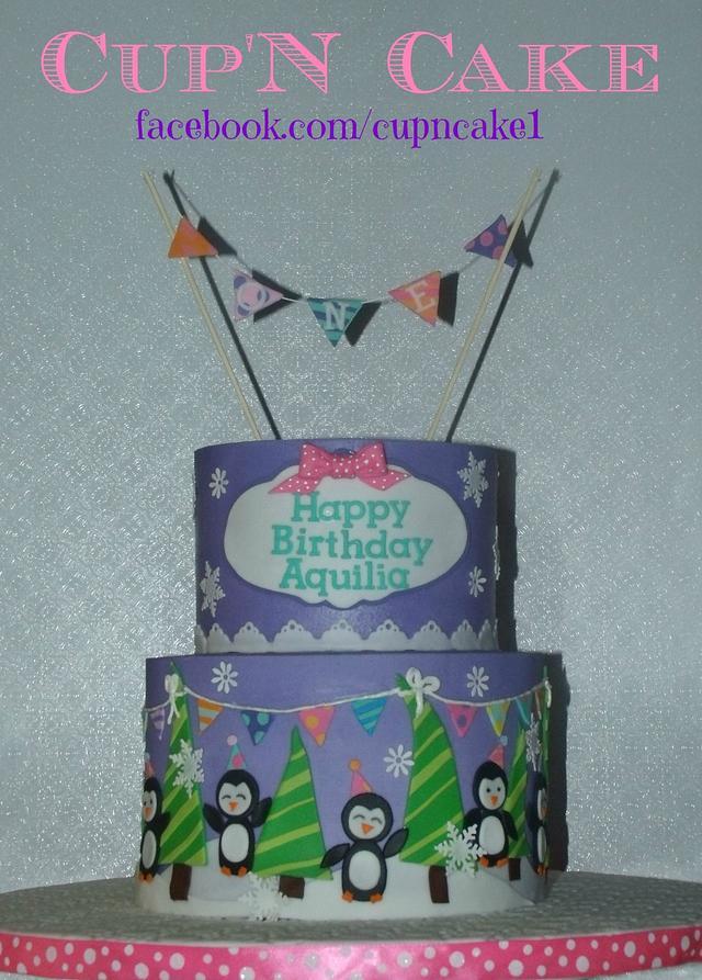 Miraculous Penguin Winter Themed First Birthday Cake Cake By Cakesdecor Funny Birthday Cards Online Elaedamsfinfo