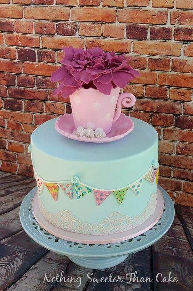 Bunting baby shower cake