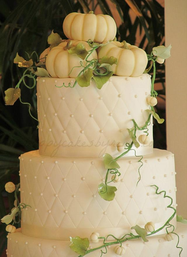 White Pumpkin Fall Wedding Cake