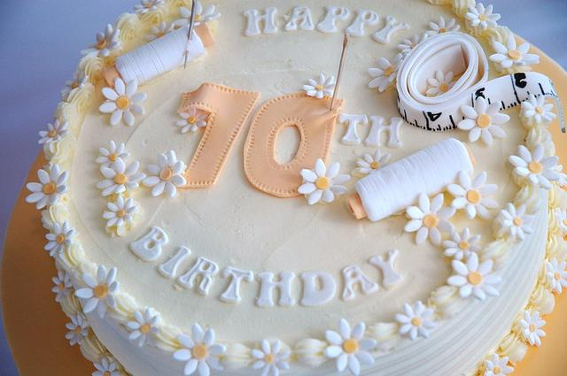 Sewing themed buttercream cake