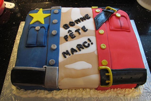 Acadian Flag inspired cake