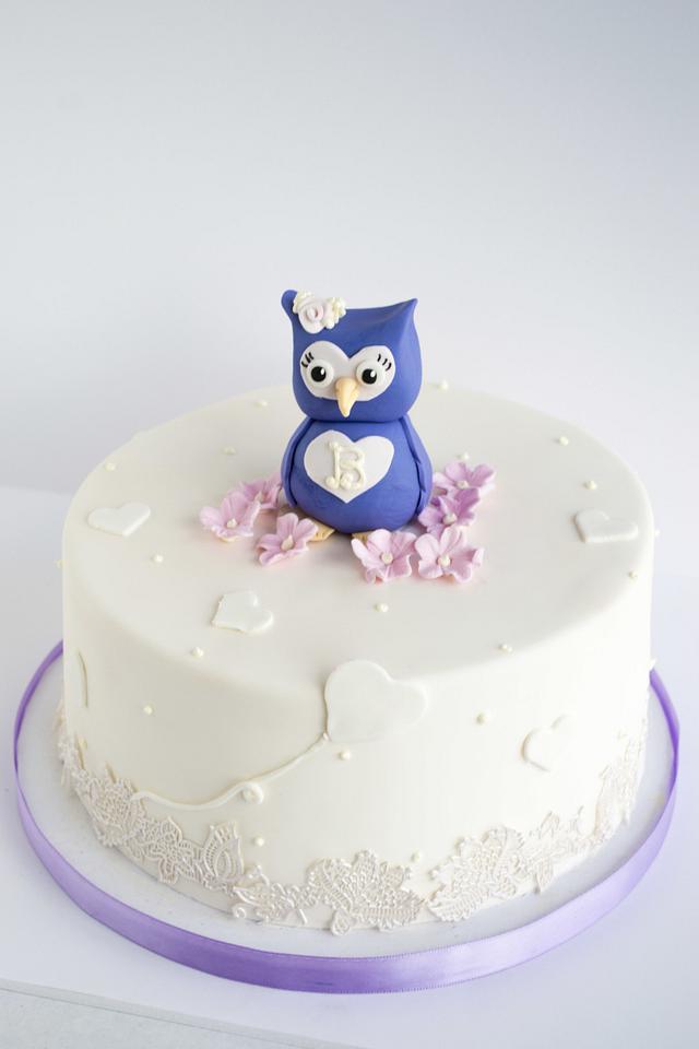 Cool Owl First Birthday Cake Cake By Piece Ocake Cakesdecor Funny Birthday Cards Online Hendilapandamsfinfo