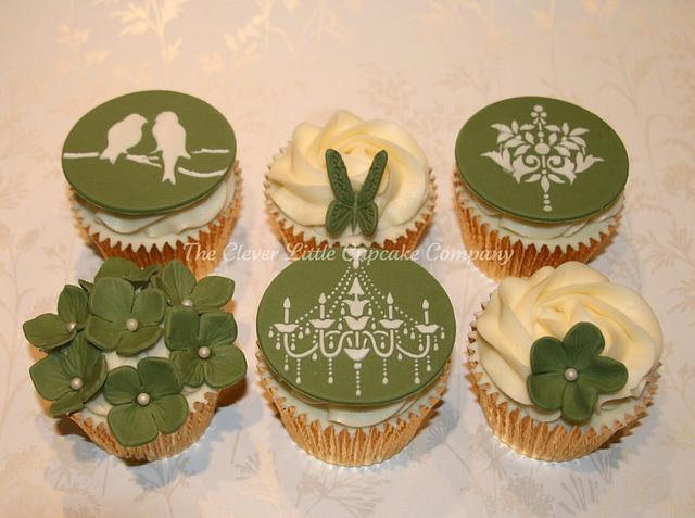 Sage Green Wedding Cupcakes