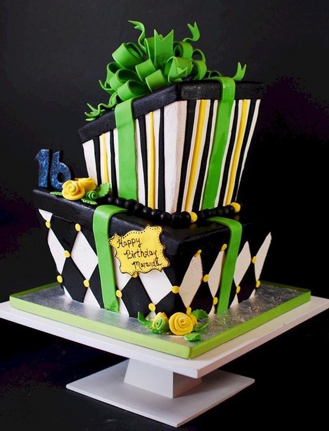 Wonky Sweet 16 Birthday Cake