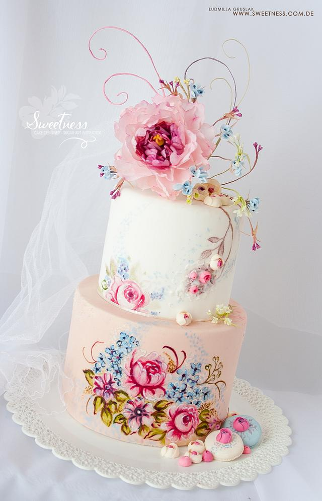 Hand Painted Cake with Wafer-Paper Flowers