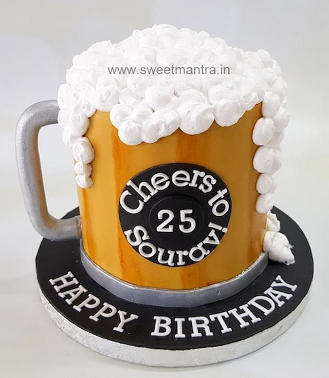 Surprising Beer Mug Shaped 3D Fondant Cake For Boys 25Th Birthday Cakesdecor Funny Birthday Cards Online Alyptdamsfinfo