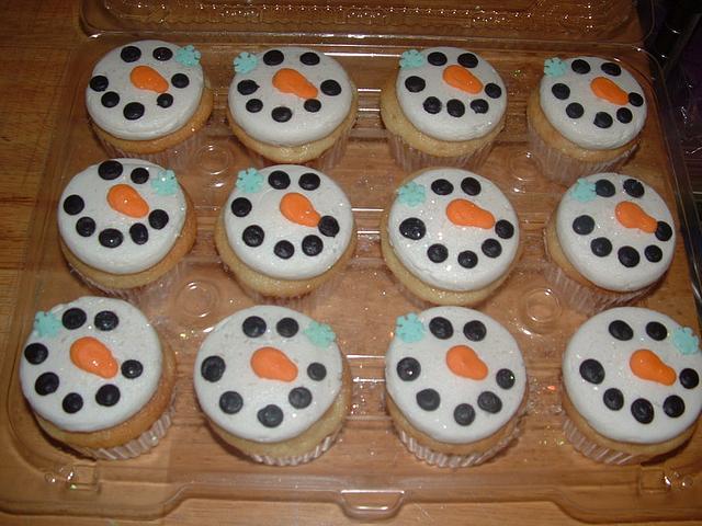 Snowman Face Cupcakes