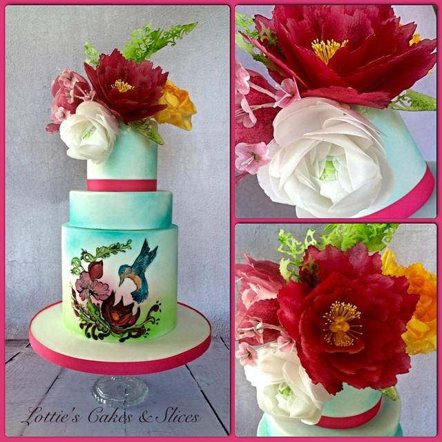 Handpainted Kingfisher Wedding cake with Wafer Paper Flowers.