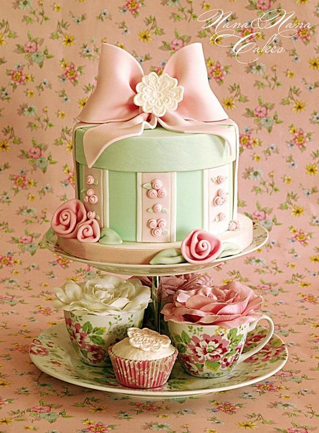Shabby chic hat box cake