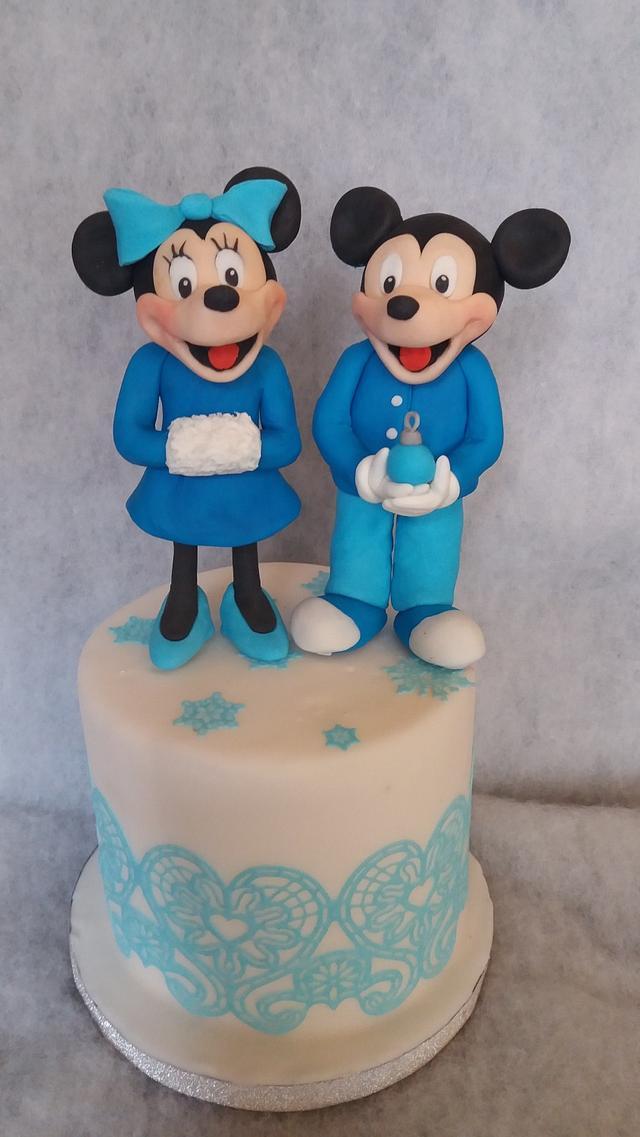 blue Mickey and minnie