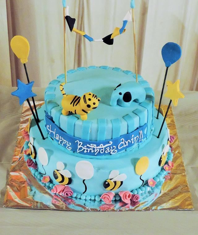 Terrific Jungle Themed Birthday Cake For A 2 Year Old Cake By Cakesdecor Funny Birthday Cards Online Elaedamsfinfo