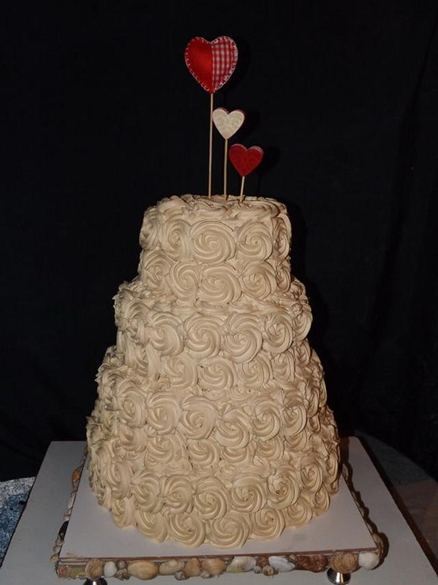 Rose Swirl Wedding Cake (Whipped Cream Frosting)
