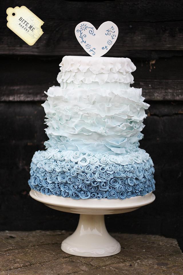 Blue Ombre Ruffled Wedding Cake
