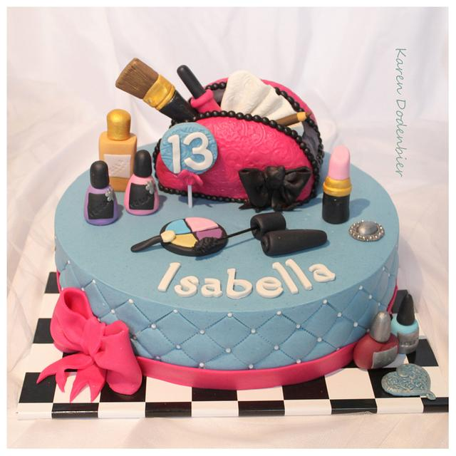 Amazing Make Up 13 Years Old Cake By Karen Dodenbier Cakesdecor Funny Birthday Cards Online Inifodamsfinfo