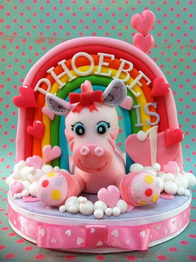 Pink Zebra and Rainbow Cake Topper