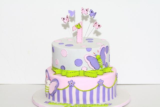 Awesome Butterfly First Birthday Cake Cake By Chaitra Makam Cakesdecor Personalised Birthday Cards Petedlily Jamesorg