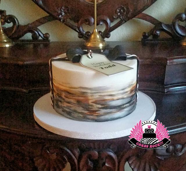 Masculine Hand Painted Birthday Cake
