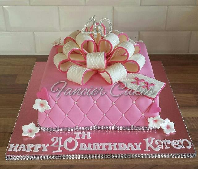 Outstanding Present Bow Birthday Cake Cake By Fancier Cakes Cakesdecor Funny Birthday Cards Online Chimdamsfinfo