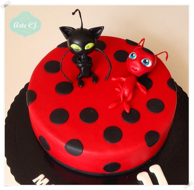 Super Birthday Cake Miraculous Ladybug Cake By Arte Cj Cakesdecor Personalised Birthday Cards Veneteletsinfo