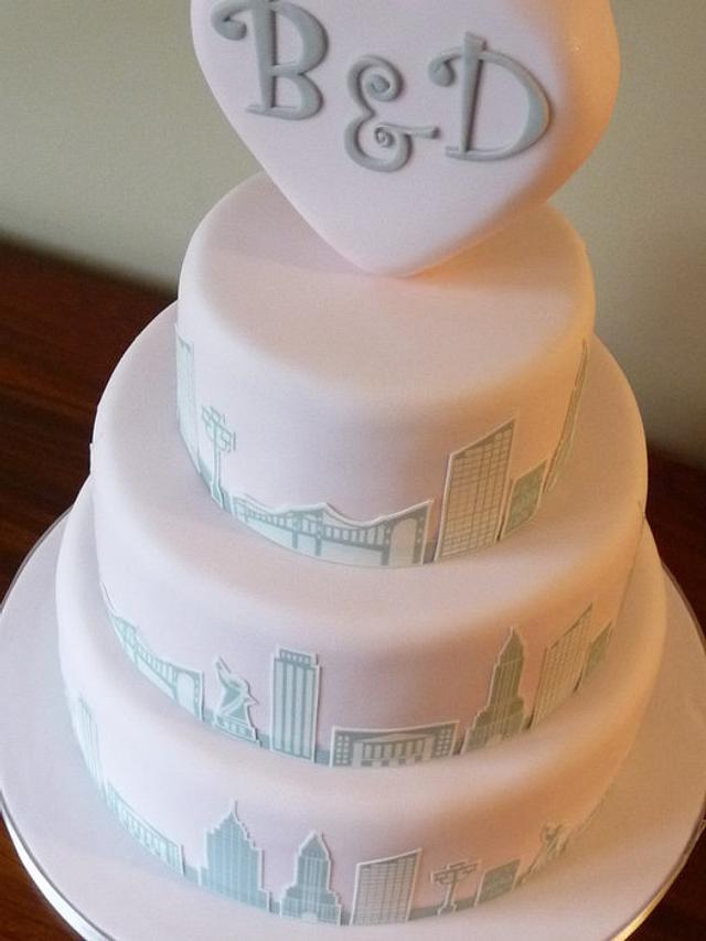 New York Skyline Wedding Cake