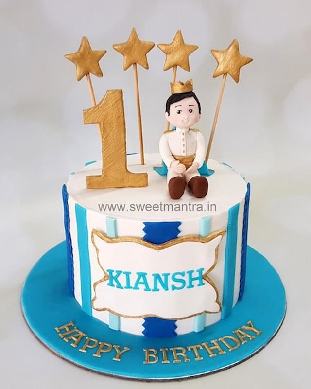 Marvelous Prince Theme Cake For Boys 1St Birthday Cake By Sweet Cakesdecor Funny Birthday Cards Online Chimdamsfinfo