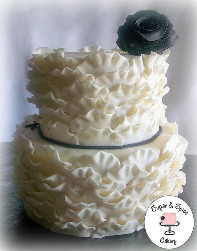 Small Wedding Frill Cake