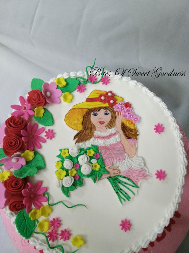 Tremendous Handpainted Cute Girl On Fresh Cream Cake By Cakesdecor Funny Birthday Cards Online Overcheapnameinfo