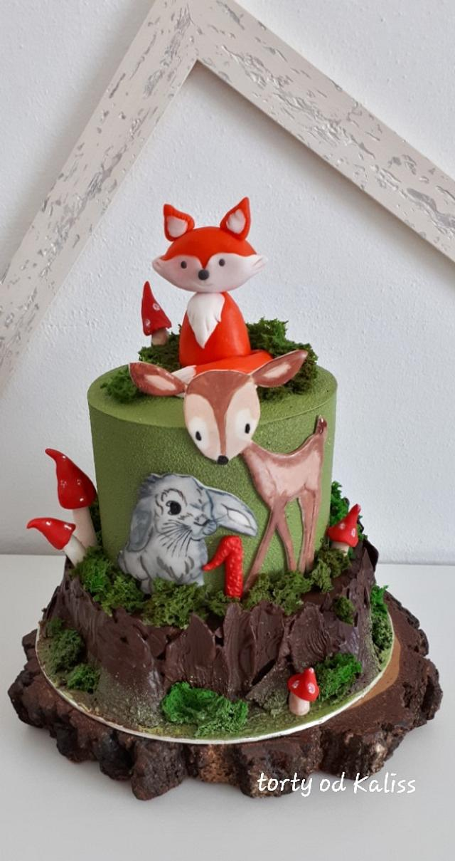 Fantastic Birthday With Forest Animals Cake By Kaliss Cakesdecor Funny Birthday Cards Online Benoljebrpdamsfinfo