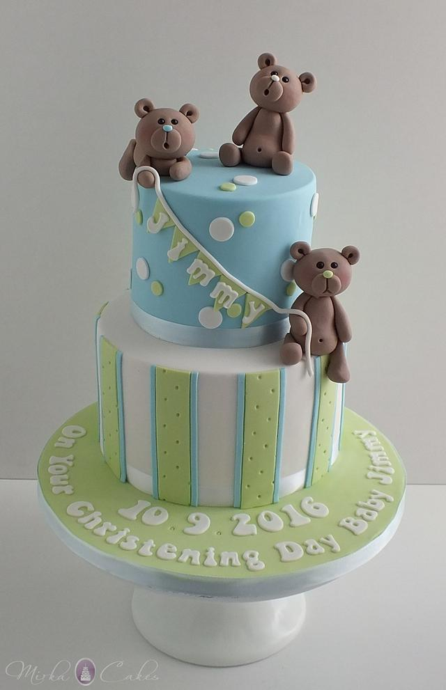 Cute Christening Cake with Teddies & matching cupcakes