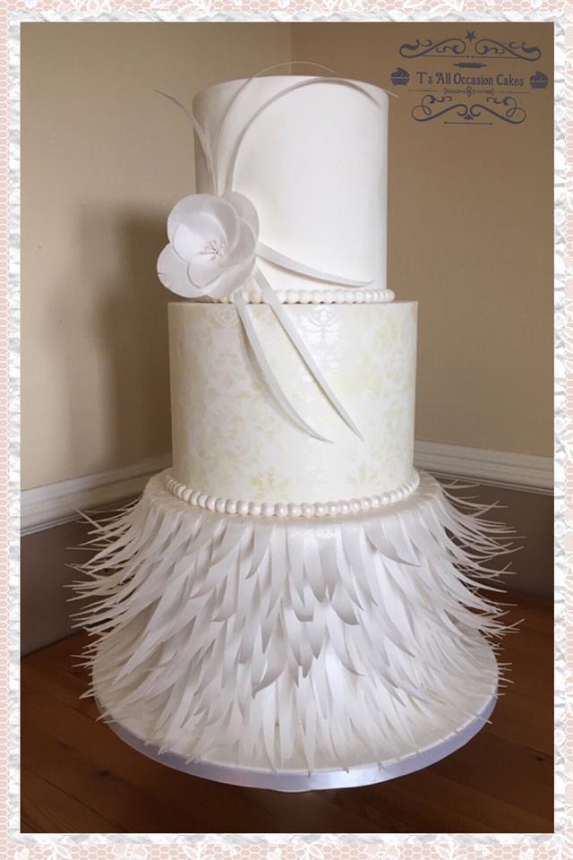 Wafer feather wedding cake