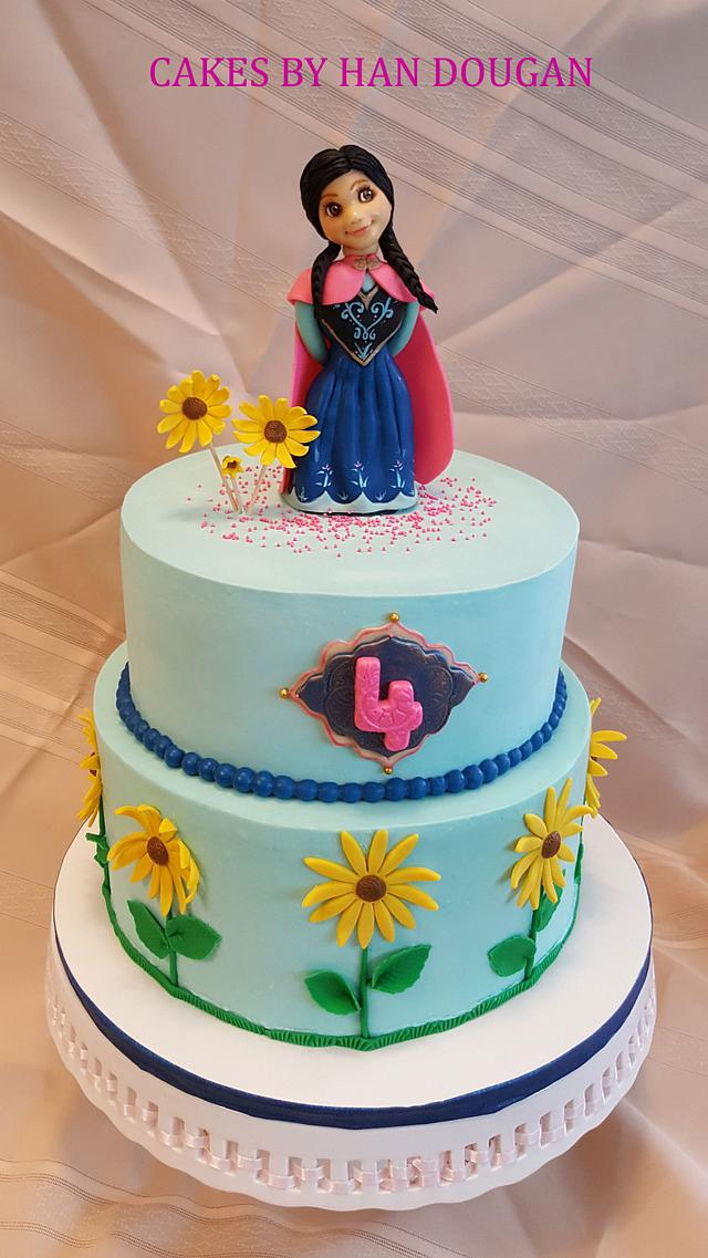 """Birthday cake for a fan of Anna on """"Frozen"""" movie"""