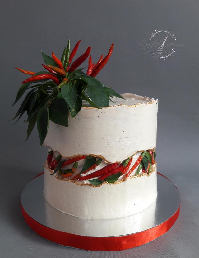Chili fault line cake