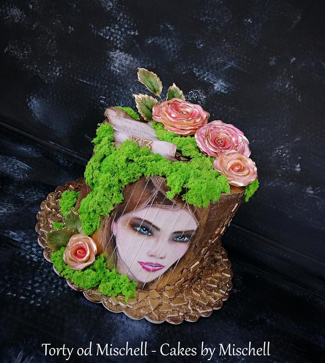 Hand painted cake with roses
