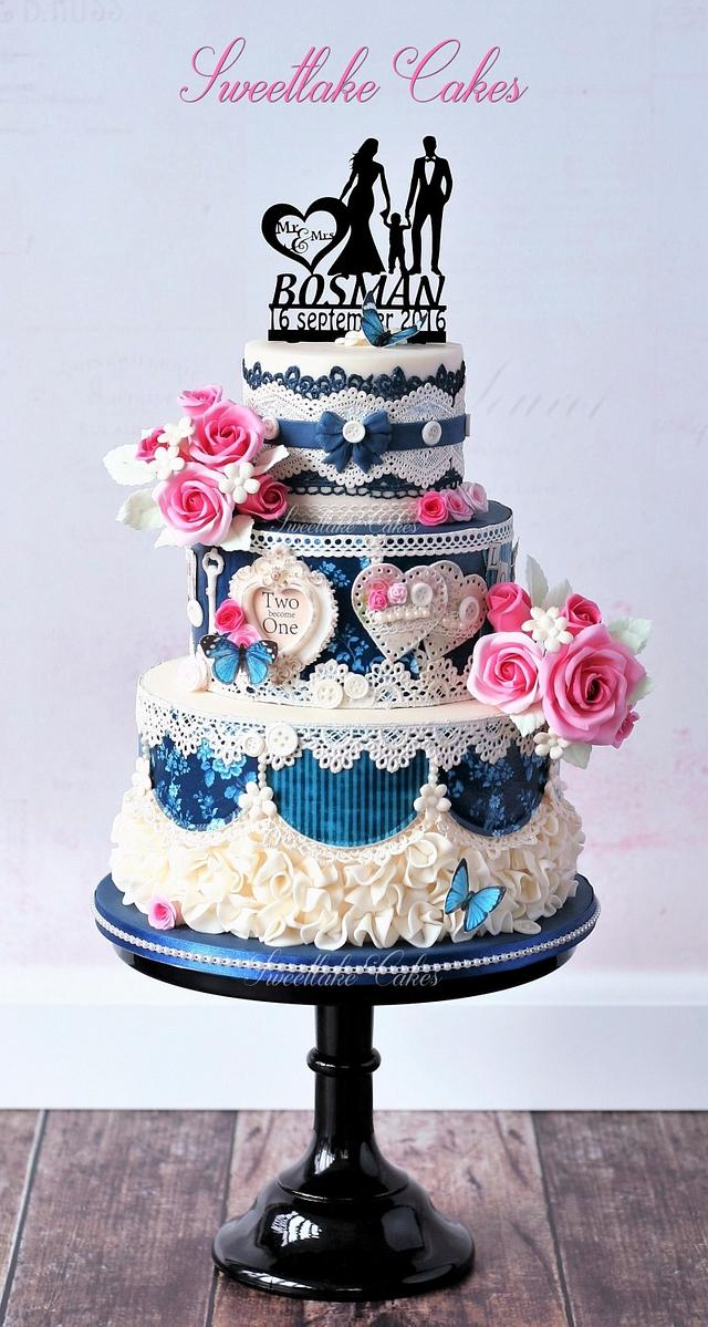 Blue shabby chic wedding cake