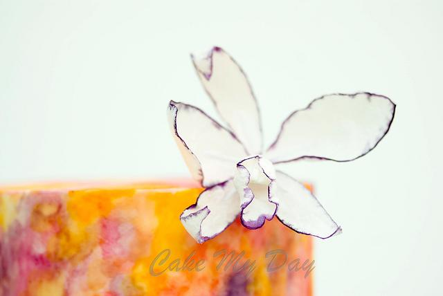 Watercolour with Cattleya Orchids