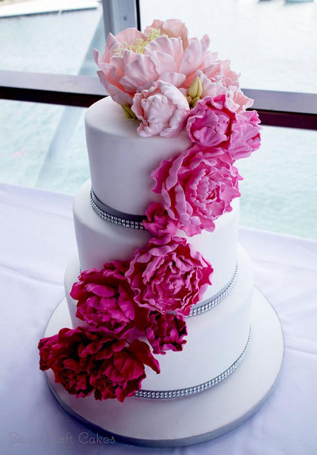 Ombre Cascading Sugar Peonies Wedding Cake