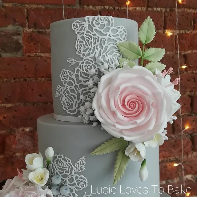 Grey and Pink Floral Lace Wedding Cake